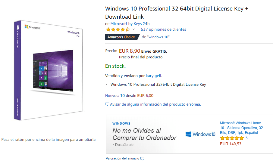 Licencias de Windows 10 Profesional Económicas